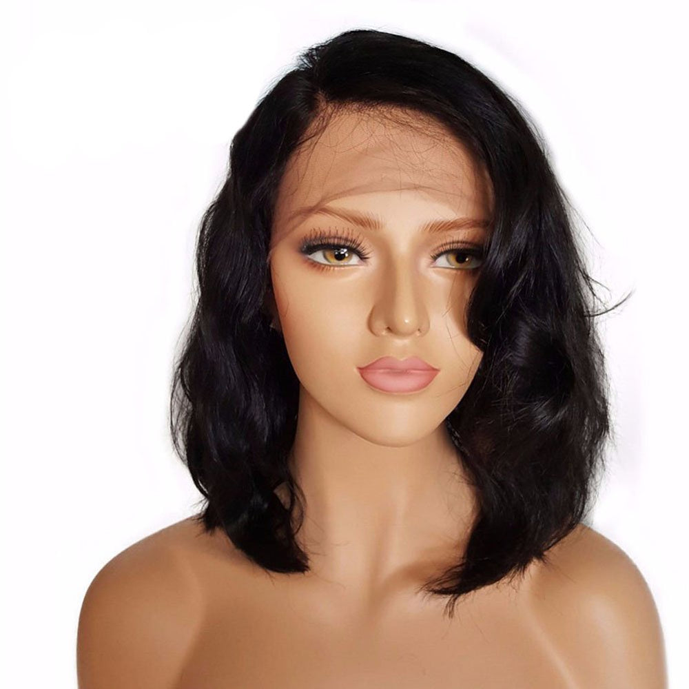 *Hot* Queen Wavy Pre-Plucked Brazilian Virgin Hair Lace Front Bob Wigs