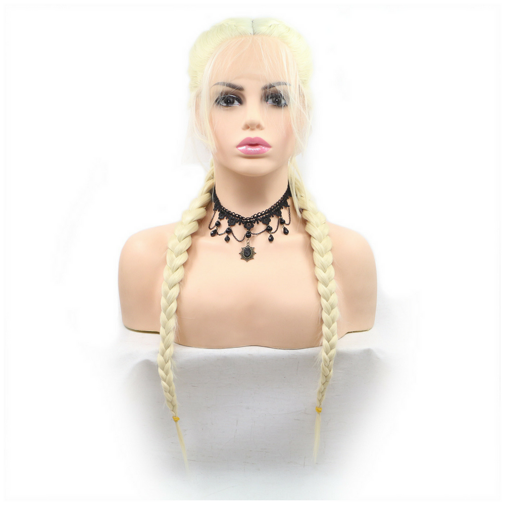 Rechoo Light Blonde Double Braid With Baby Hair Synthetic Lace Front Wigs