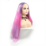 Rechoo Light Pink/Purple Ombre Silky Straight Synthetic Lace Front Wig