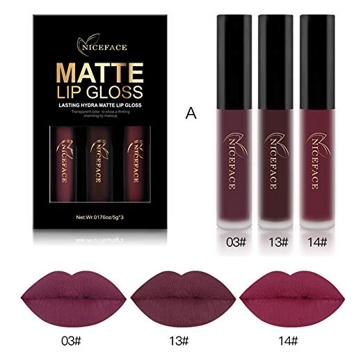 Rechoo 3PCS of 3 Colors Madly MATTE Non-stick Waterproof Lipstick