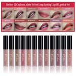 Rechoo 12 Colours Matte Lip Gloss Waterproof Long Lasting Beauty Lips Makeup Kit