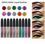 Glitter Liquid Eyeliner 10PCS 10 Colors Long Lasting Waterproof Sparkling Eyeliner Eye Shadow