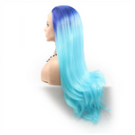 Rechoo Blue Ombre Straight Synthetic Lace Front Wig