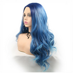 Rechoo Ombre Dark Blue Body Wavy Synthetic Lace Front Wigs