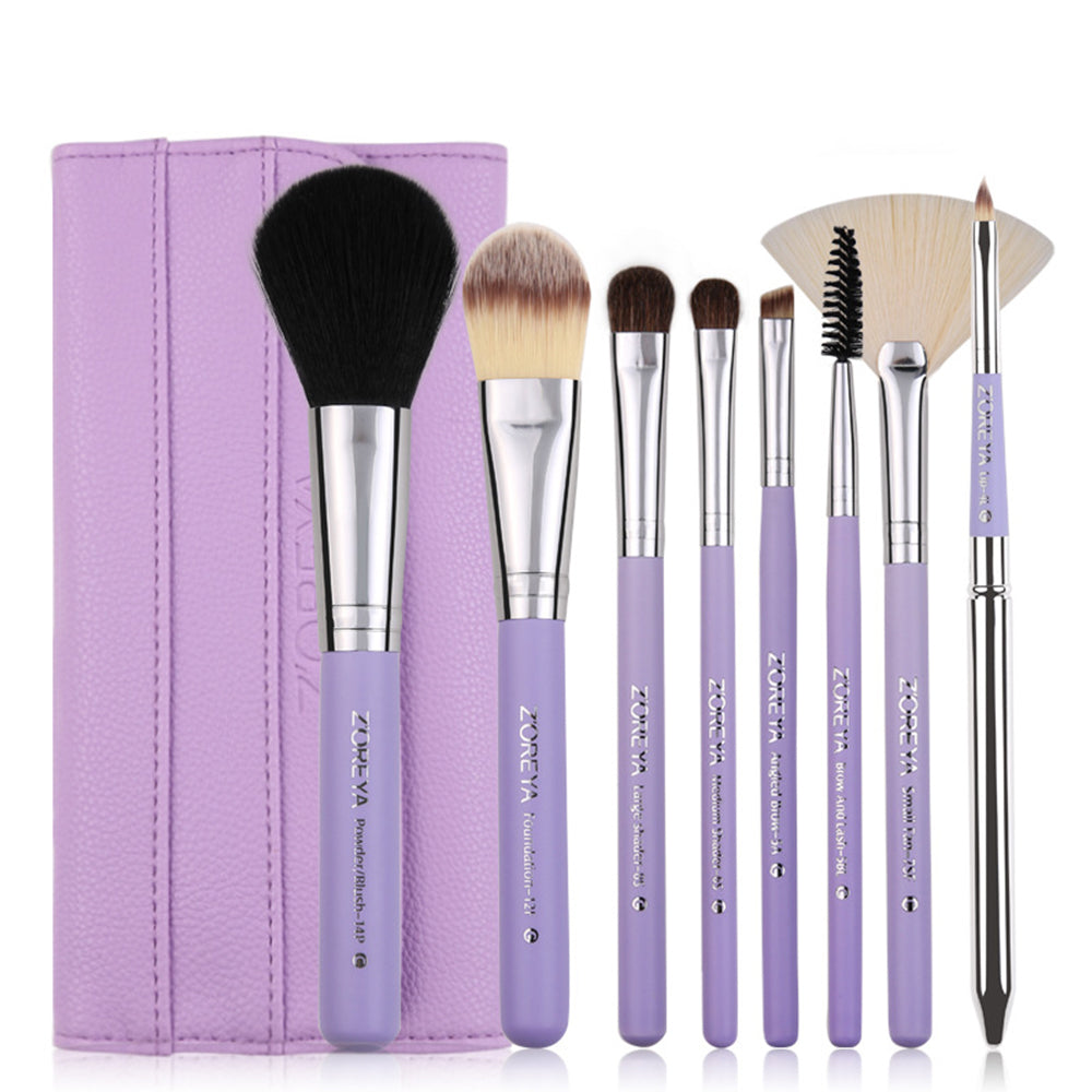 8Pcs Makeup Brush Kit Wood Cosmetic Set