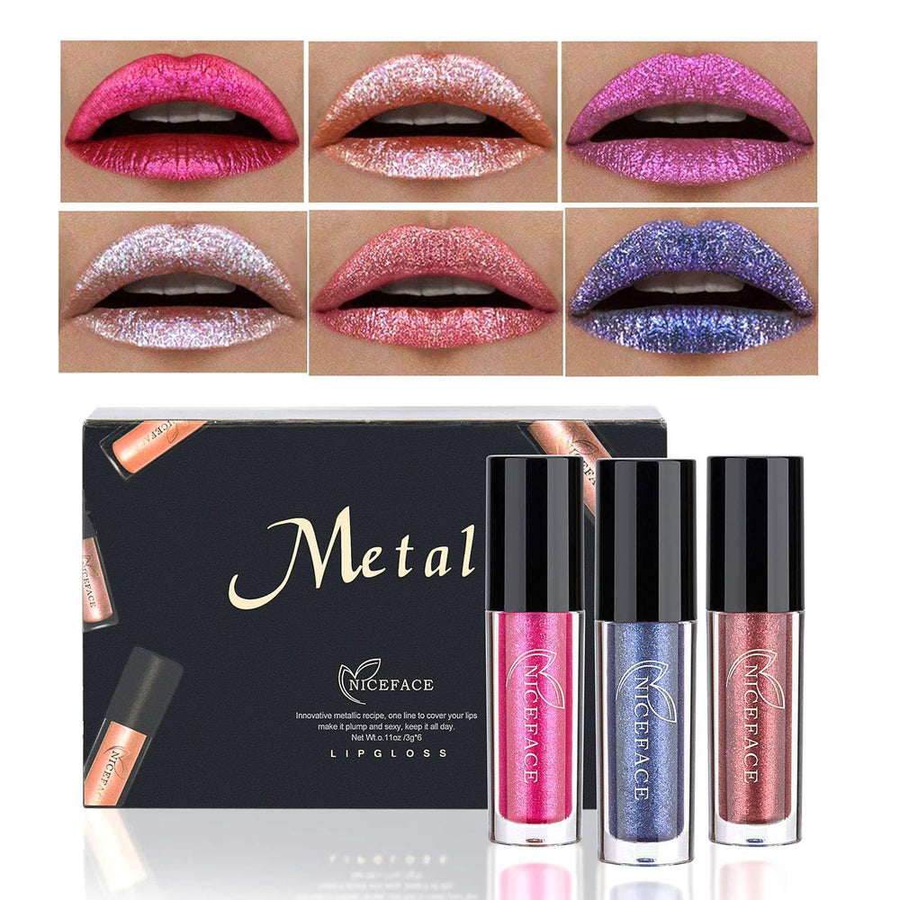 6PCS Non-stick Cup Metal Lipstick Waterproof Sparkling Lip Gloss Vivid Color Matte Lip Liquid Long Lasting Makeup 6 Colors Set 4