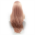 Rechoo Rose Gold Pink Straight Synthetic Lace Front Wigs