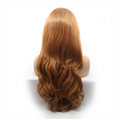 Caramel Colour Loose Wavy Hand-tied Synthetic Lace Front Wig