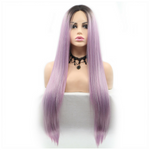 Dark Root Purple Silky Straight Synthetic Lace Front Wig