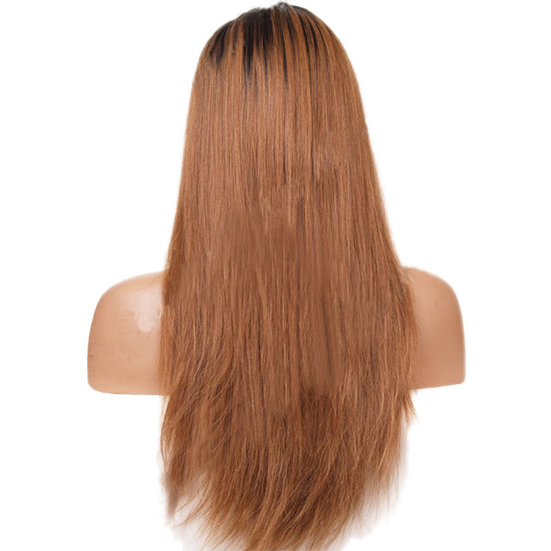 Rechoo Straight Ombre Brown Synthetic Lace Front Wig