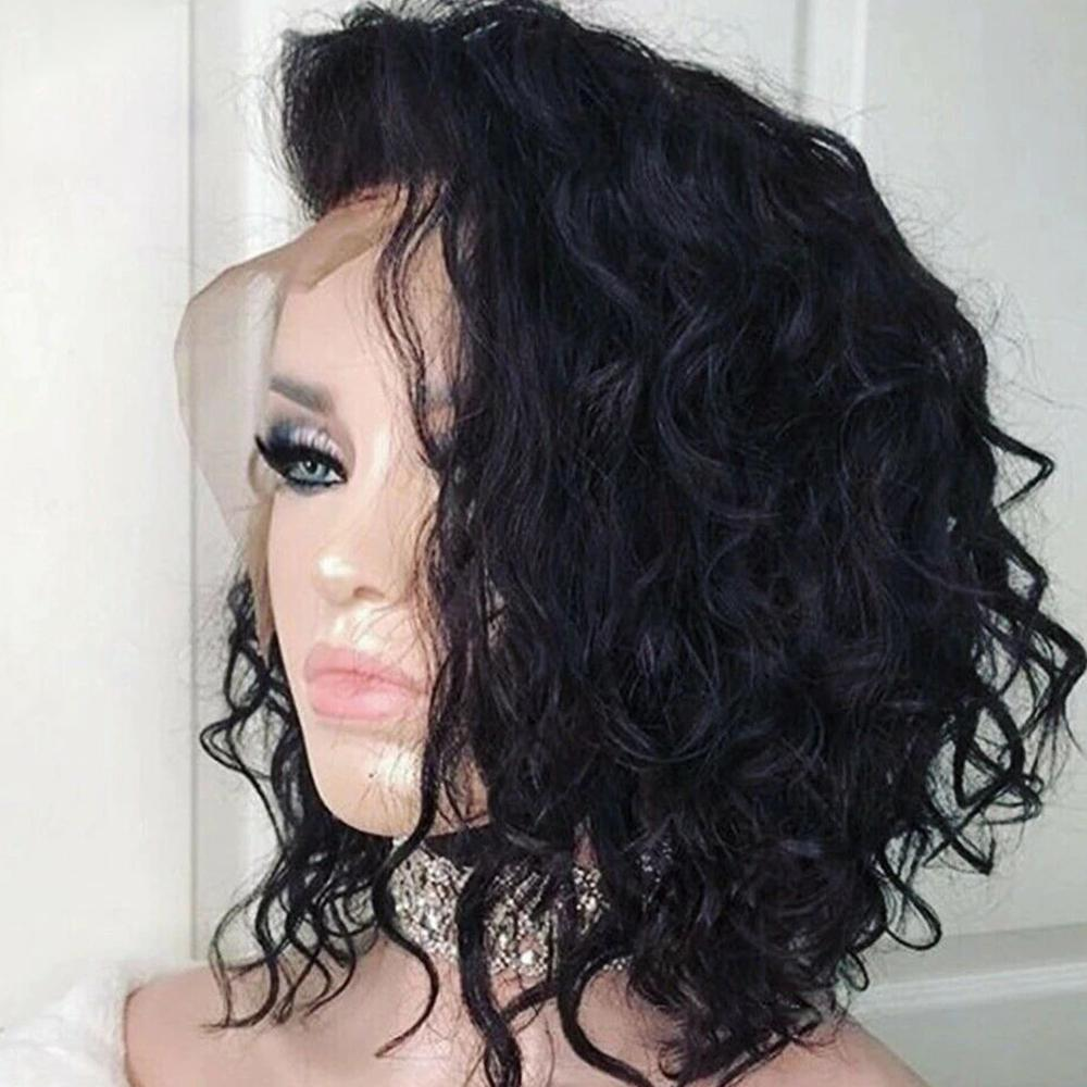 【NEW IN】Pre-Bleached Curly Brazilian Virgin Hair Lace Front Short Bob Wigs