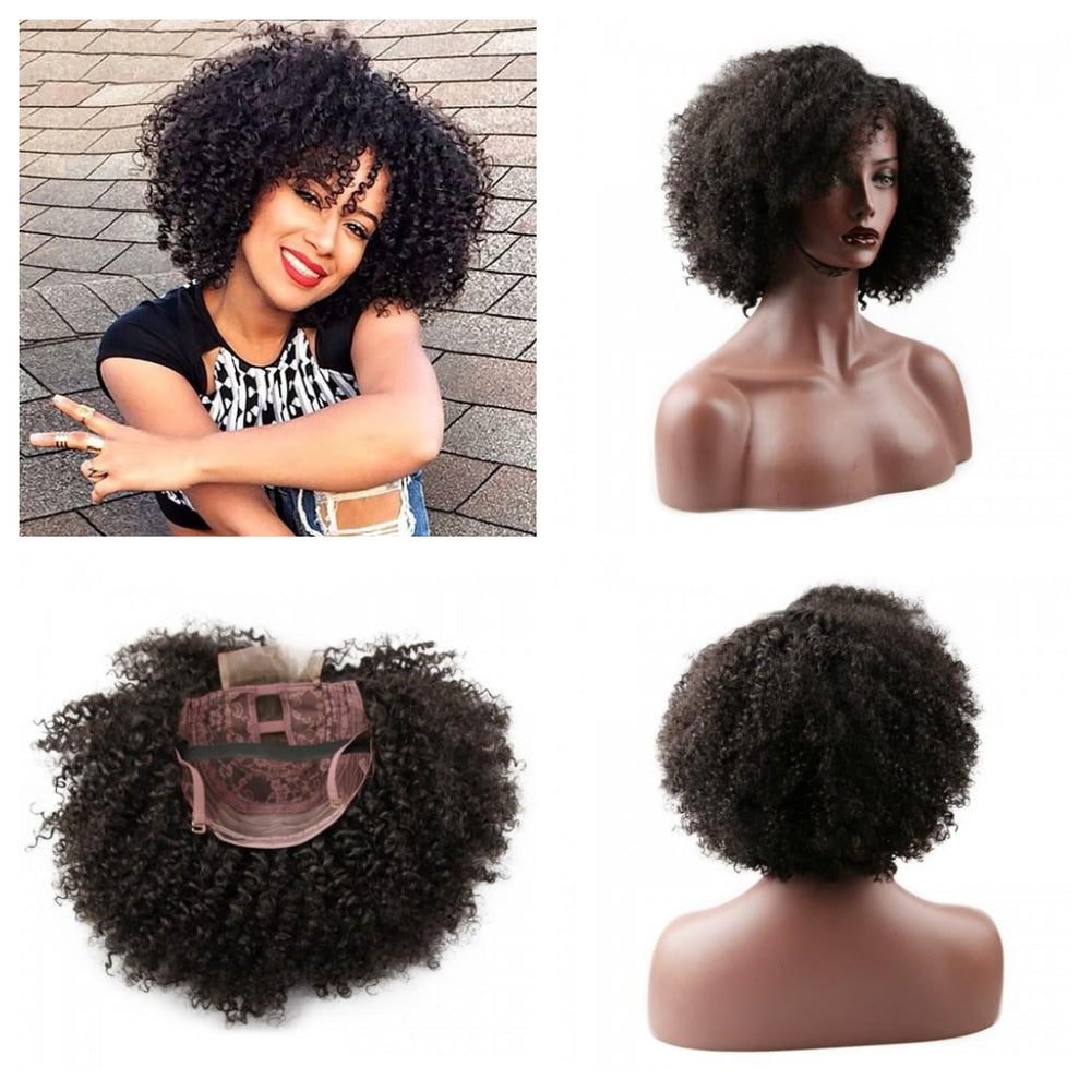"10"" Brazilian Virgin Hair Short Kinky Curly Wigs Top Lace Wigs"