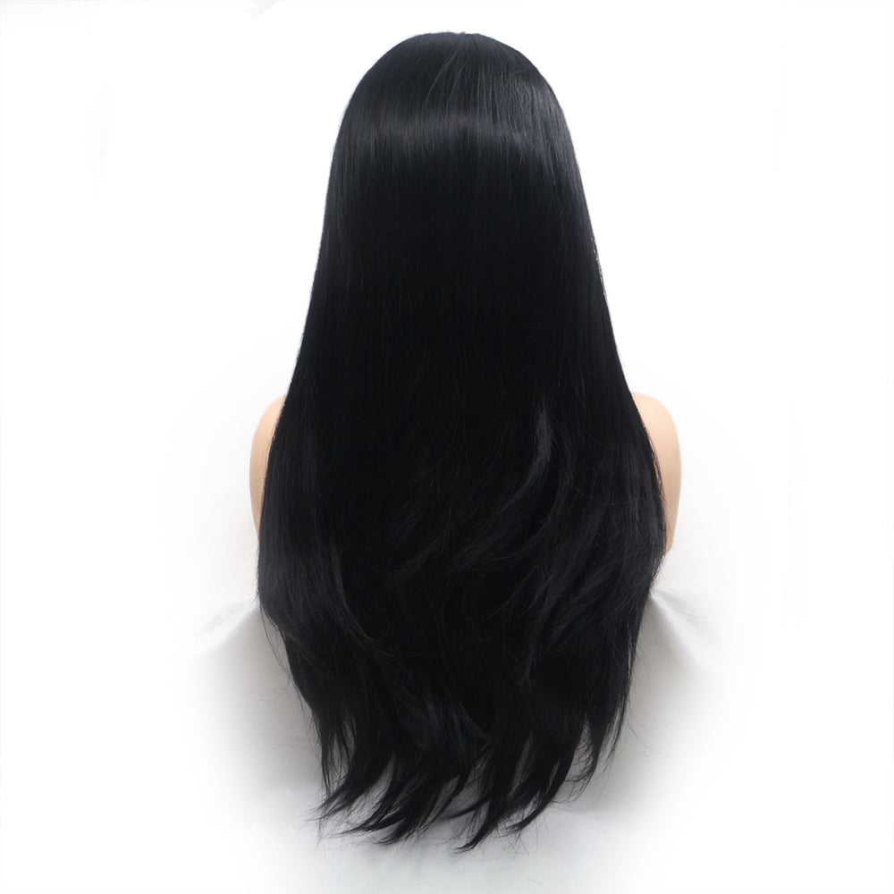 Rechoo Natural Black Straight Synthetic Lace Front Wig