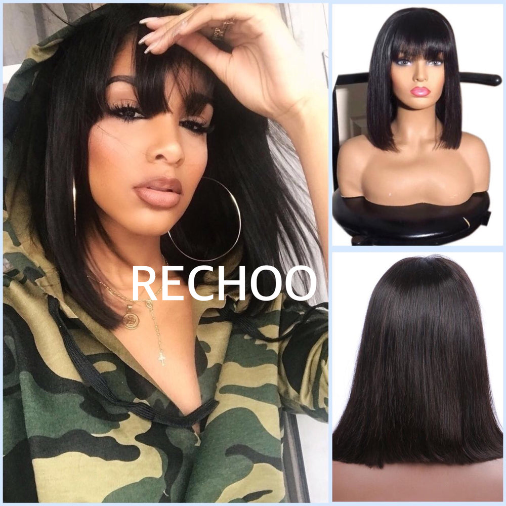 【NEW IN】Straight Short Lace Front Human Hair Bob Wigs With Bangs