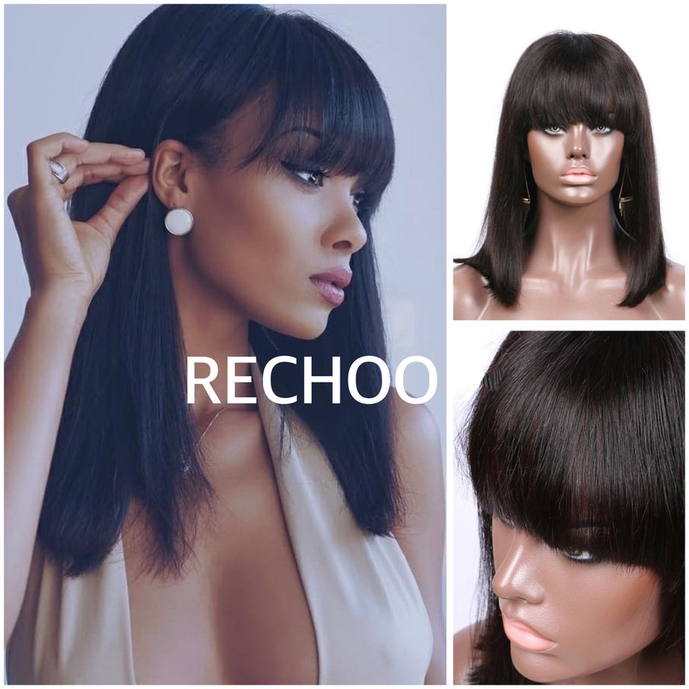 【NEW IN】Pre-Plucked Straight Lace Front Human Hair Wigs With Bangs
