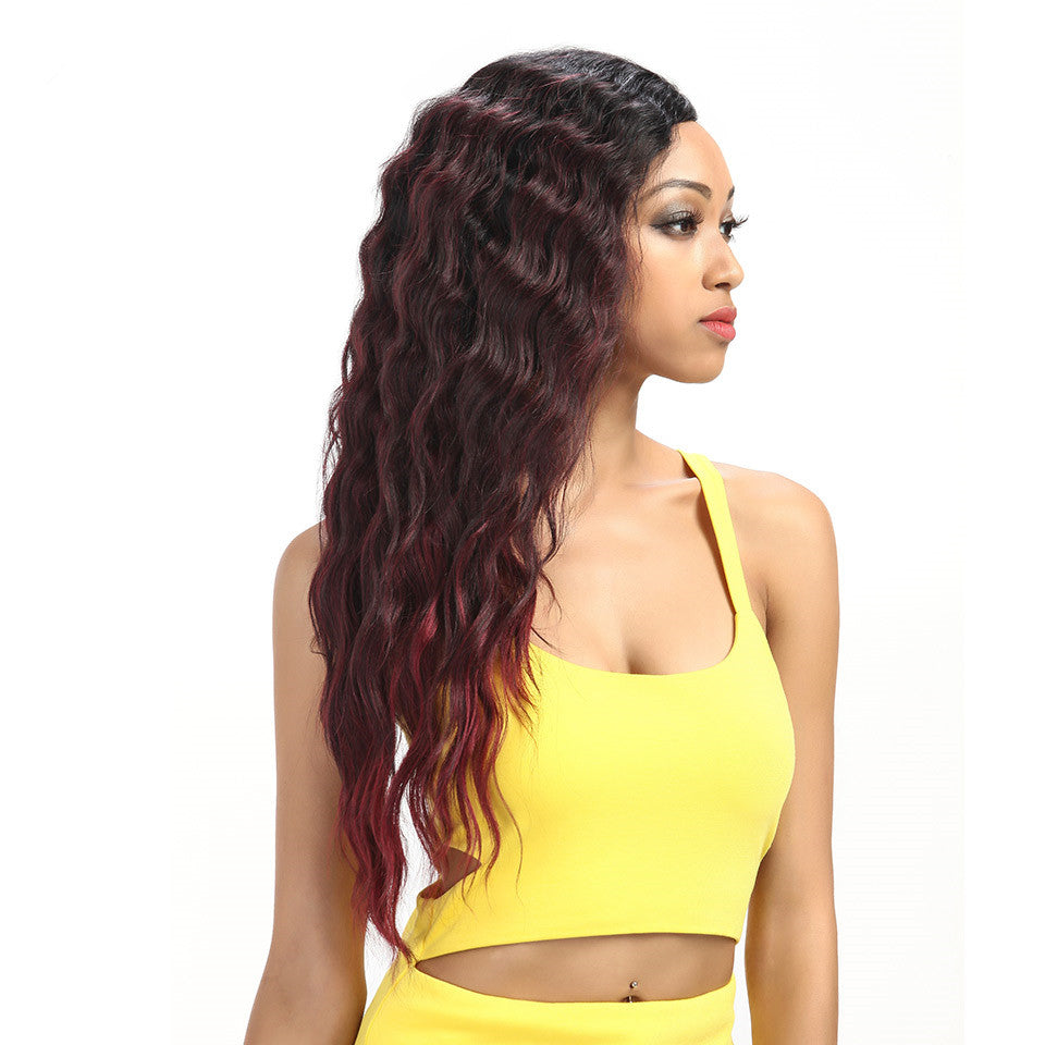 Rechoo African American Deep Wave Synthetic Lace Front Wig