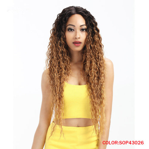 Rechoo Lace Front Ombre Blonde Wavy Synthetic Wigs