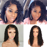 *Upgrade*Rechoo Water wavy Pre-Plucked Brazilian Virgin Hair Lace Front Bob Wigs