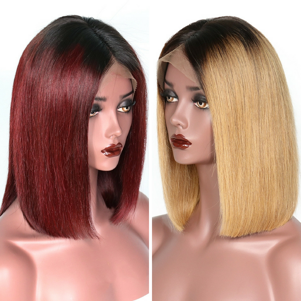 *NEW IN* Rechoo Lace Front Honey Blonde Ombre Straight Short Bob Pre-Plucked Brazillian Hair Wig