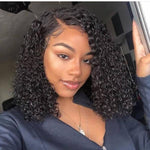 【NEW IN】Invisible knots Short Curly Bob wig Transparent lace wig Brazilian Virgin Hair