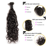 "Rechoo 10""-30"" 3 Bundles Natural Wavy 10A Virgin Brazilian Hair Natural Black 300g"