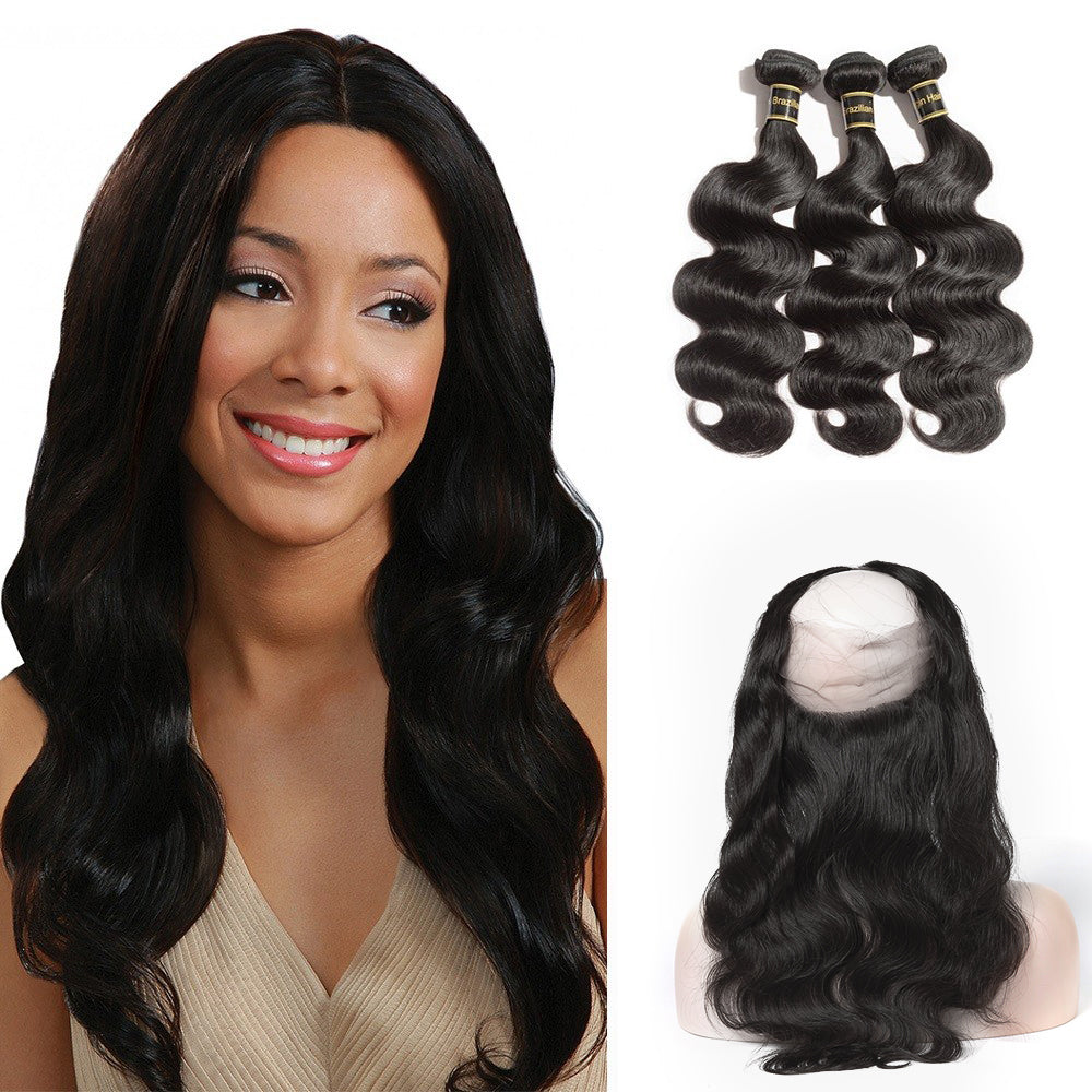 Rechoo 360 Lace Frontal Band with 3 Bundles Body Wavy 10A Brazilian Virgin Hair