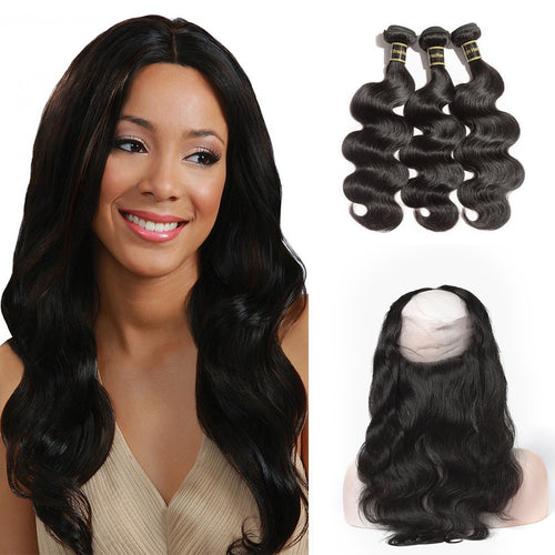 Rechoo 360 Lace Frontal Band with 3 Bundles Body Wavy 6A Brazilian Virgin Hair