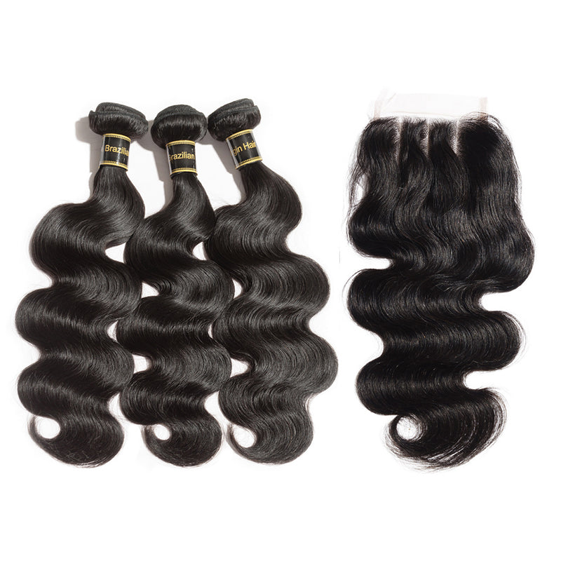 Rechoo 3 Bundles Body Wavy Brazilian Virgin Hair 300g With Three Part 4*4 Lace Frontal
