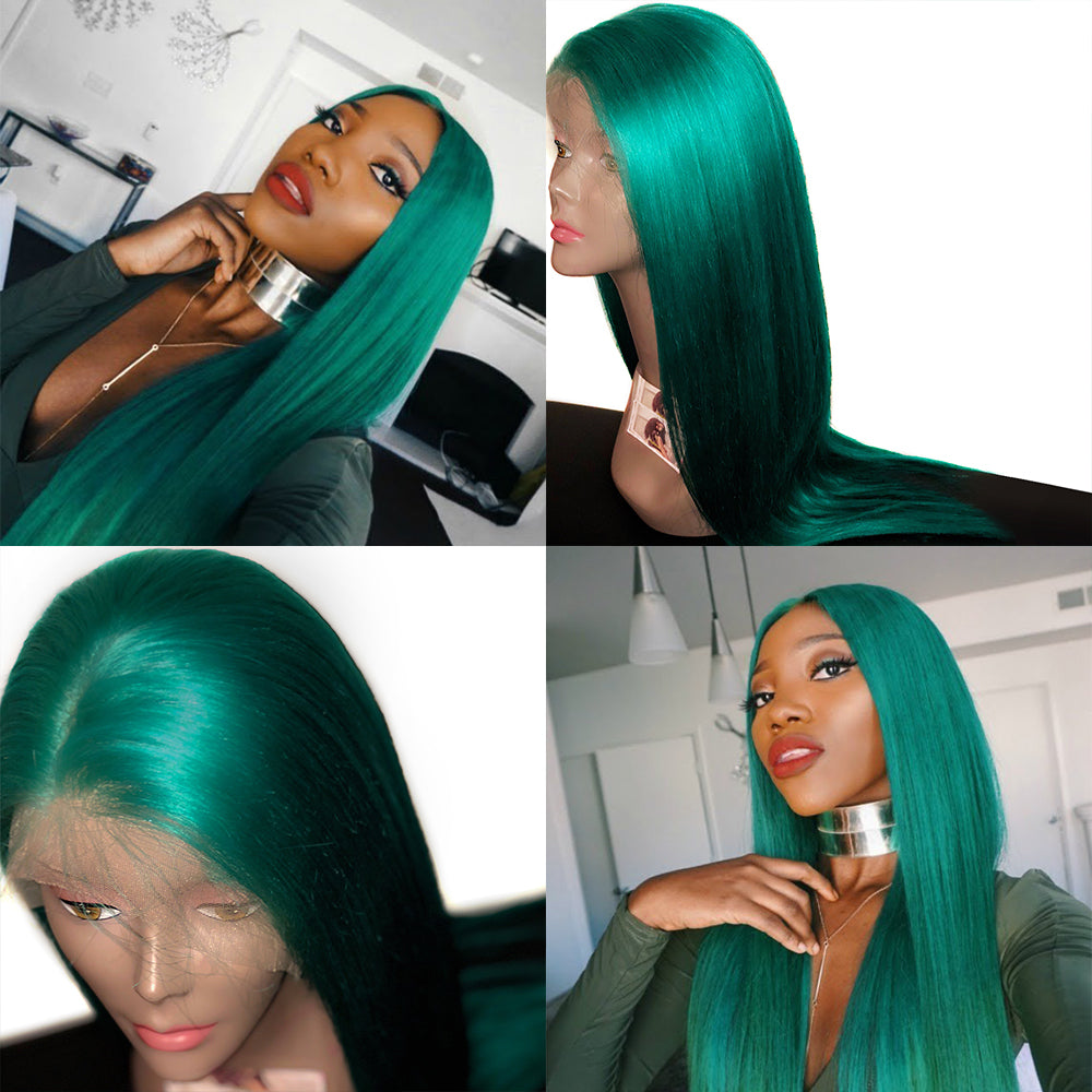 Rechoo Emerald Green Human Lace Front Wig
