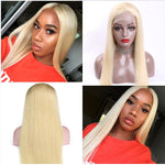 【NEW IN】#613 Blonde Straight Brazilian Virgin Hair Lace Front Wigs With Baby Hair