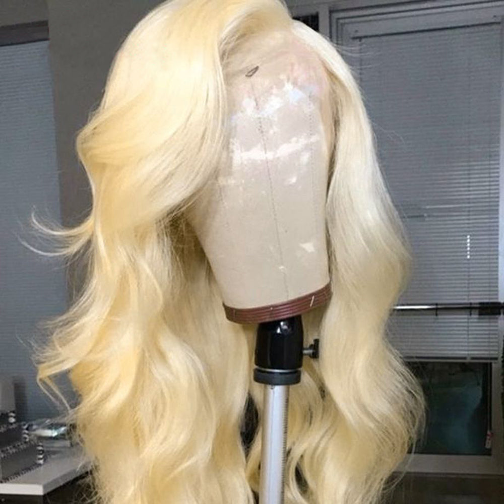 【NEW IN】#613 Blonde Body Wavy Brazilian Virgin Hair Lace Front Wigs With Baby Hair