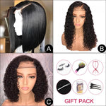 【Crazy Sale】Virgin Hair Bob Wigs 3-IN-1 With Free Gift