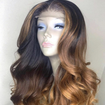 Balayage Brown Brazilian Virgin Hair Body Wave Lace Front Wigs