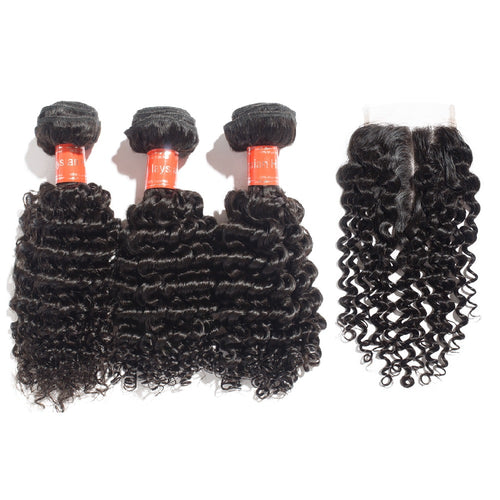 Rechoo 3 Bundles Deep Curly Malaysian Virgin Hair 300g With 4*4 Deep Curly Free Part Closure