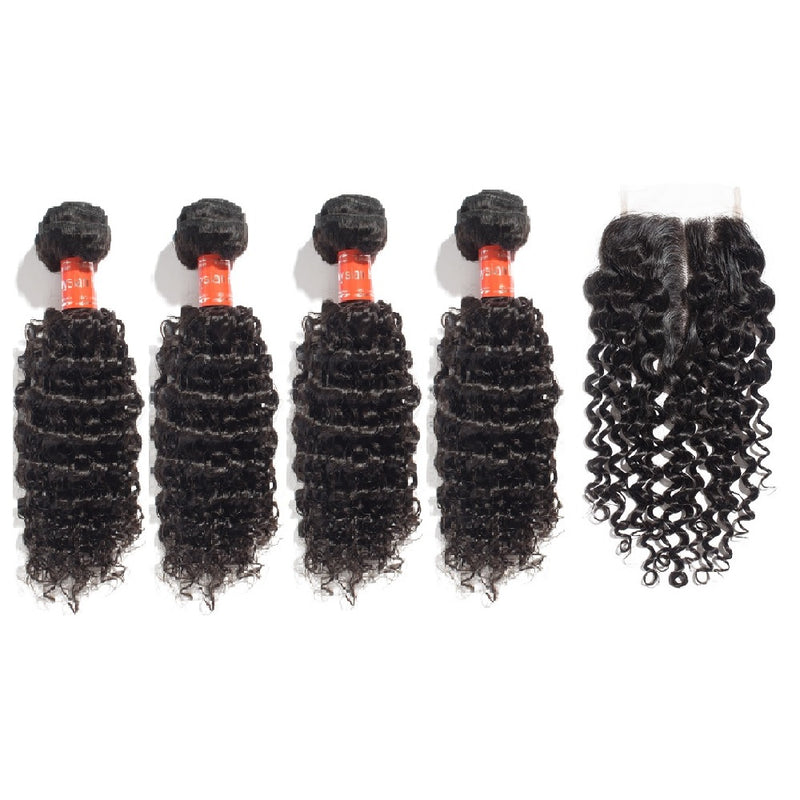 Rechoo 4 Bundles Deep Curly Malaysian Virgin Hair 400g With 4*4 Deep Curly Free Part Closure