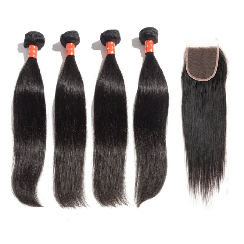 Rechoo 4 Bundles Straight Malaysian Virgin Hair 400g With 4*4 Straight Free Part Closure