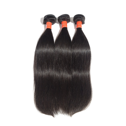 "Rechoo 10""-30"" 3 Bundles Straight Virgin Malaysian Hair Natural Black 300g"