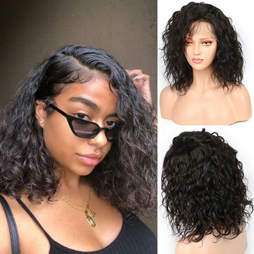 *NEW IN* Pre-Plucked side Part Natural Wavy Brazilian Virgin Hair Lace Front Wigs