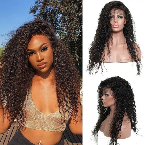 Rechoo 250% Density Pre-Plucked Human Hair Deep Curly Lace Front Wigs