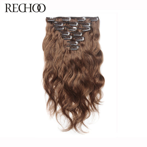 Rechoo Body Wave Clip In Hair Extensions #8 Light Brown 120g 10PCS