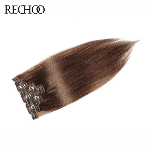 Rechoo Straight Clips In Extensions #8 Light Brown 100g 7PCS