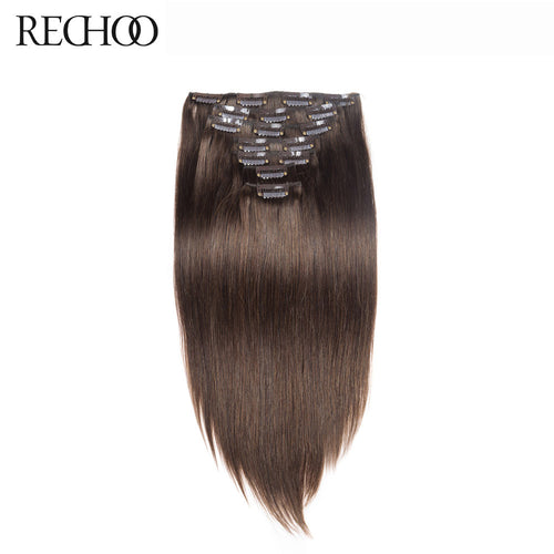 Rechoo Straight Clip In Hair Extensions #4 Chocolate Brown 120g 10 PCS