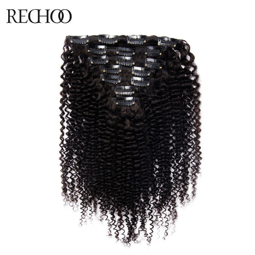 Rechoo Kinky Curly Clip In Hair Extensions #1B Natural Black 120g 7PCS