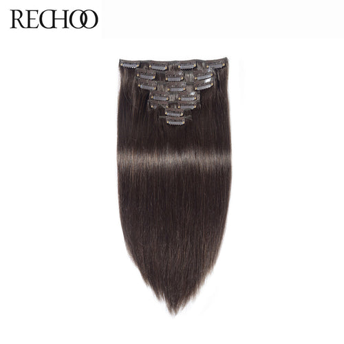 Rechoo Straight Clips In Hair Extensions #2 Dark Brown 100g 7PCS