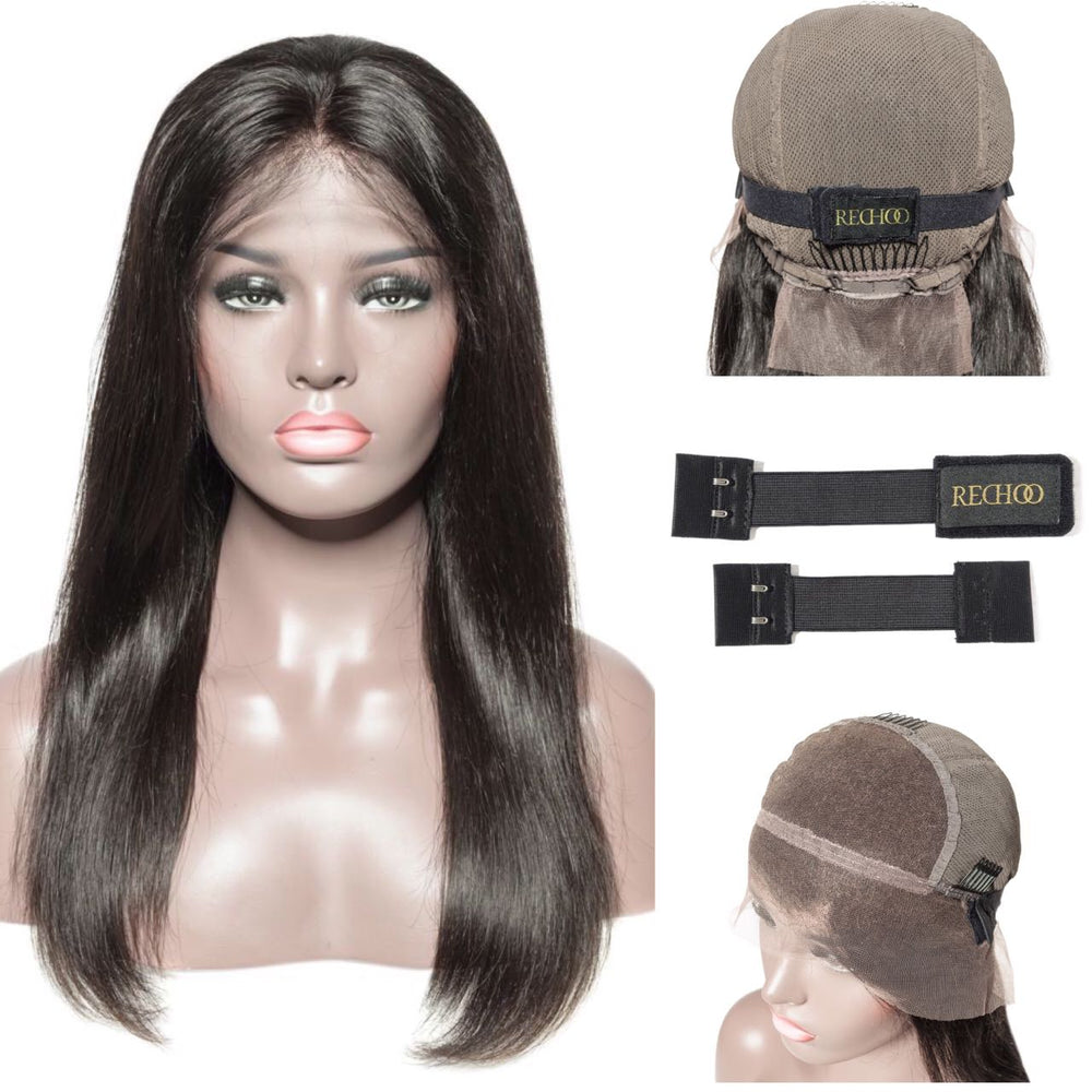 "Glueless Brazilian Virgin Hair 13""X6"" Lace Front Wig with Detachable Adjustable Elastic Band"