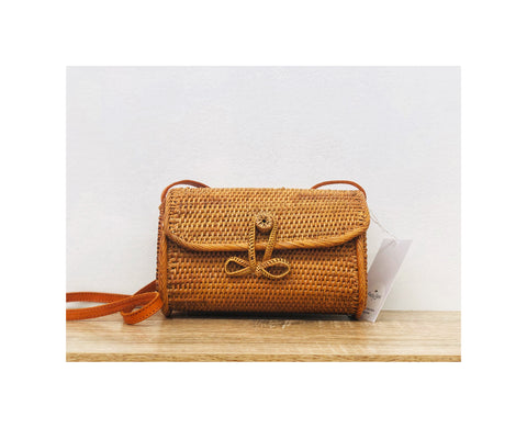 Rectangle Rattan Woven Bag with Loop Closure