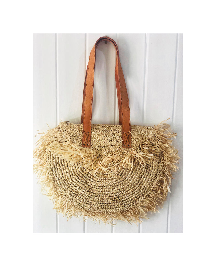 Raffia Woven Tote Bag with Leather Straps