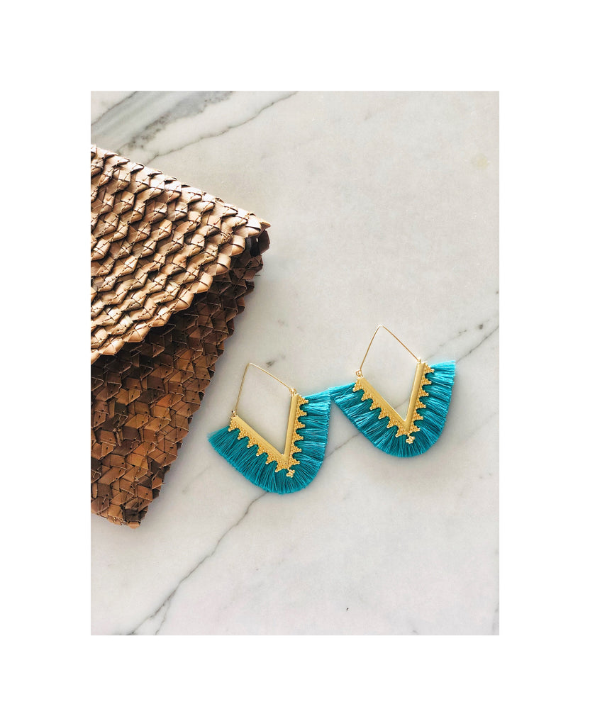 Turquoise Gold Hoop Tassel Earrings