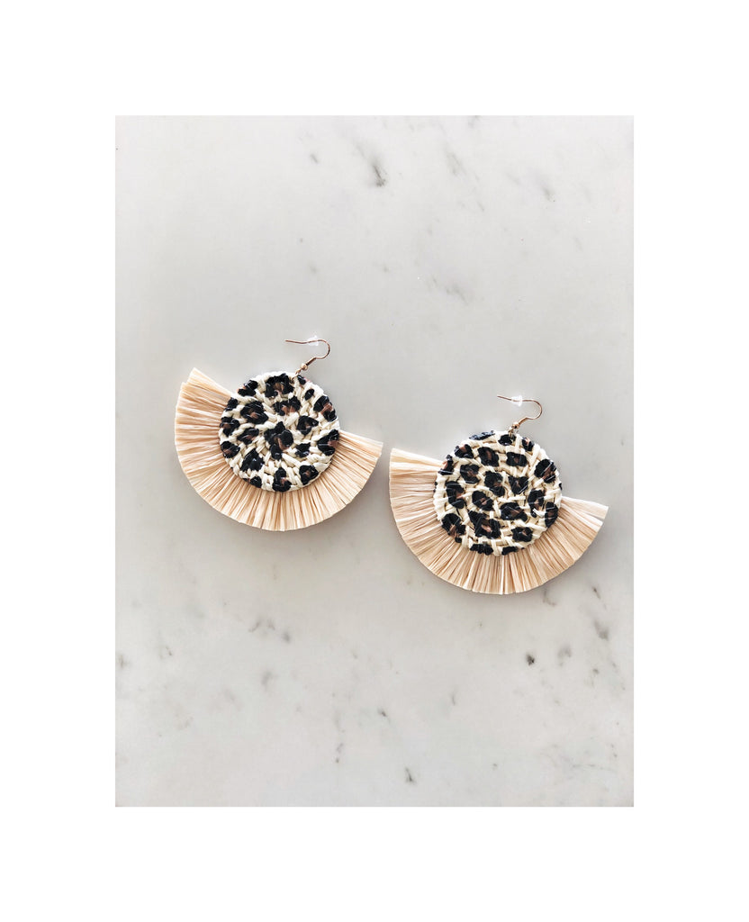 Leopard Rattan Earrings