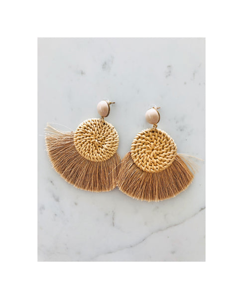 Tassel Rattan Earrings